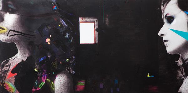 01 Lothar Hempel, Szene, 2013, Mixed media on aluminium, 80x160 cm-600x298