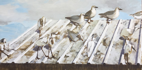 1420_Alma Itzhaky, Seagulls and Herons I, 2017, Oil on canvas, 100x200 cm-600x296
