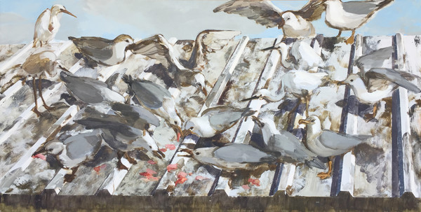 1415_Alma Itzhaky, Seagulls and Herons II, 2017, Oil on canvas, 100x200 cm-600x303