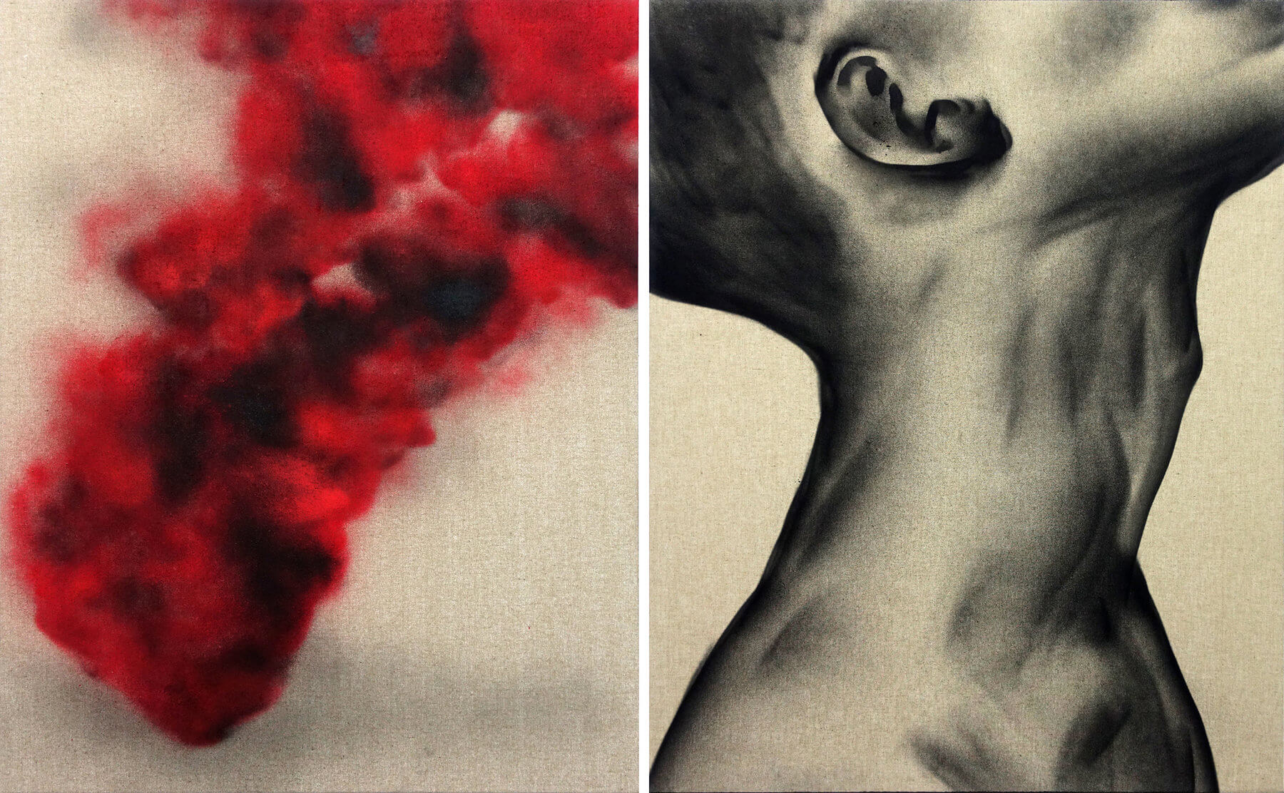 1616_Inhale, Exhale ,2018, spray paint on canvas, diptych 100x165cm (100x80cm each)-press-1800x1112