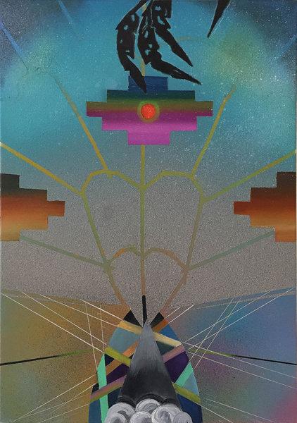 1336_Sharona Eliassaf, Untitled 2, 2016, Oil and spray on canvas, 70x50 cm-422x600