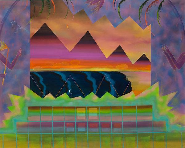 1331_Sharona Eliassaf, By Dawns Early Light, 2016, Oil, acrylic and spray on canvas, 160x200 cm-600x481