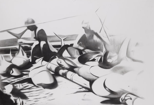 1264_Hillel Roman, Raft, 2015, Charcoal on paper, 160x240 cm-600x409