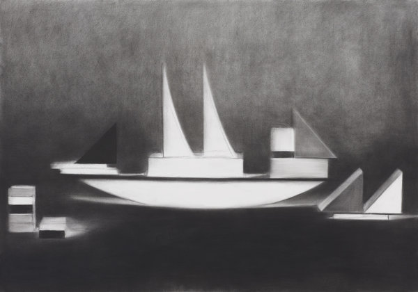 1266_Hillel Roman, Sailing, 2014, Charcoal on paper, 100x70 cm-600x420