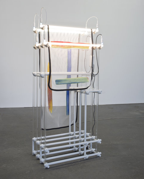 Darren Goins, Homestead Left, 2015, Glass, aluminum, nylon, polyester, urethane, silicone, neon, transformer, 192x81x49