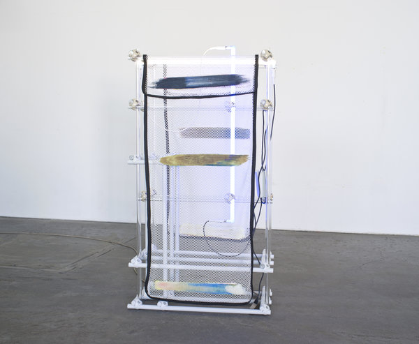 Darren Goins, Homestead Sea, 2015, Glass, aluminum, nylon, polyester, urethane, silicone, neon, transformer, 151x81x43 cm-600x493