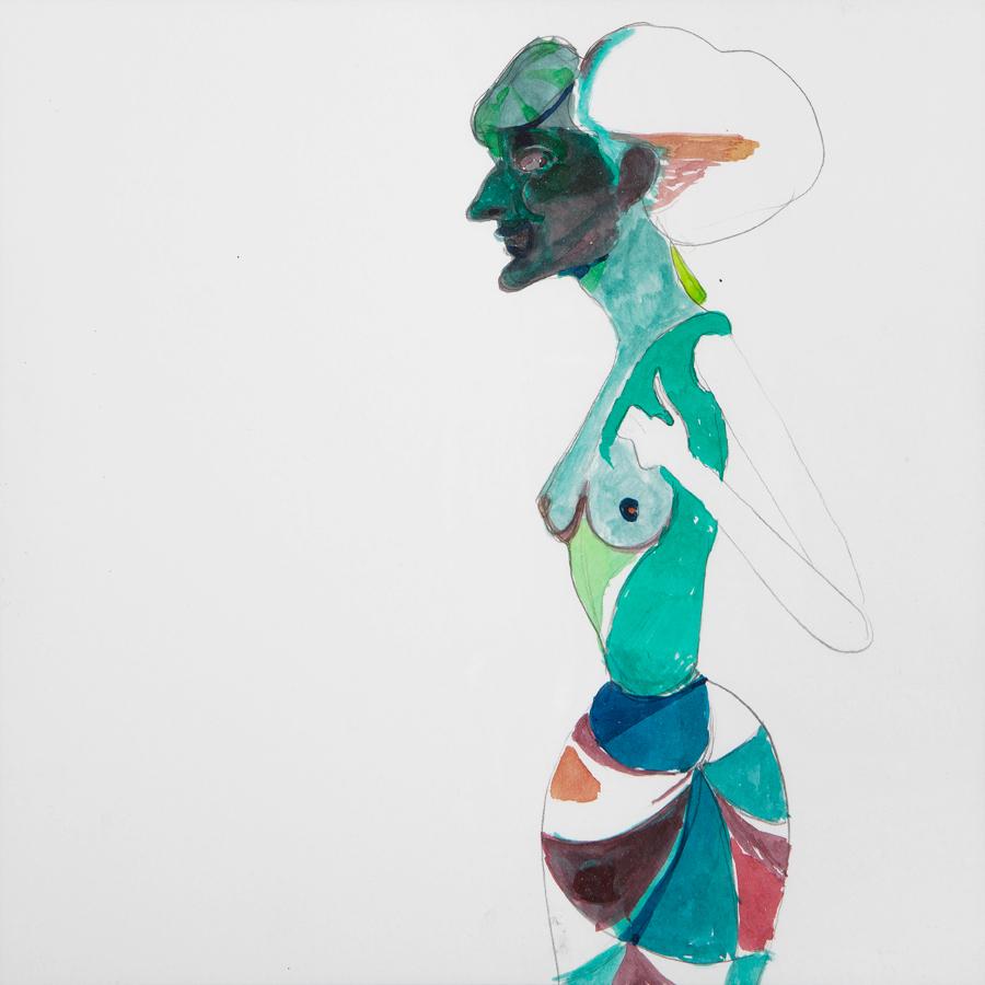 Lothar Hempel, Berlin Vision (Grüne Frau), 2013, Ink and watercolors on paper, 20x20 cm 1,800$ -900x900