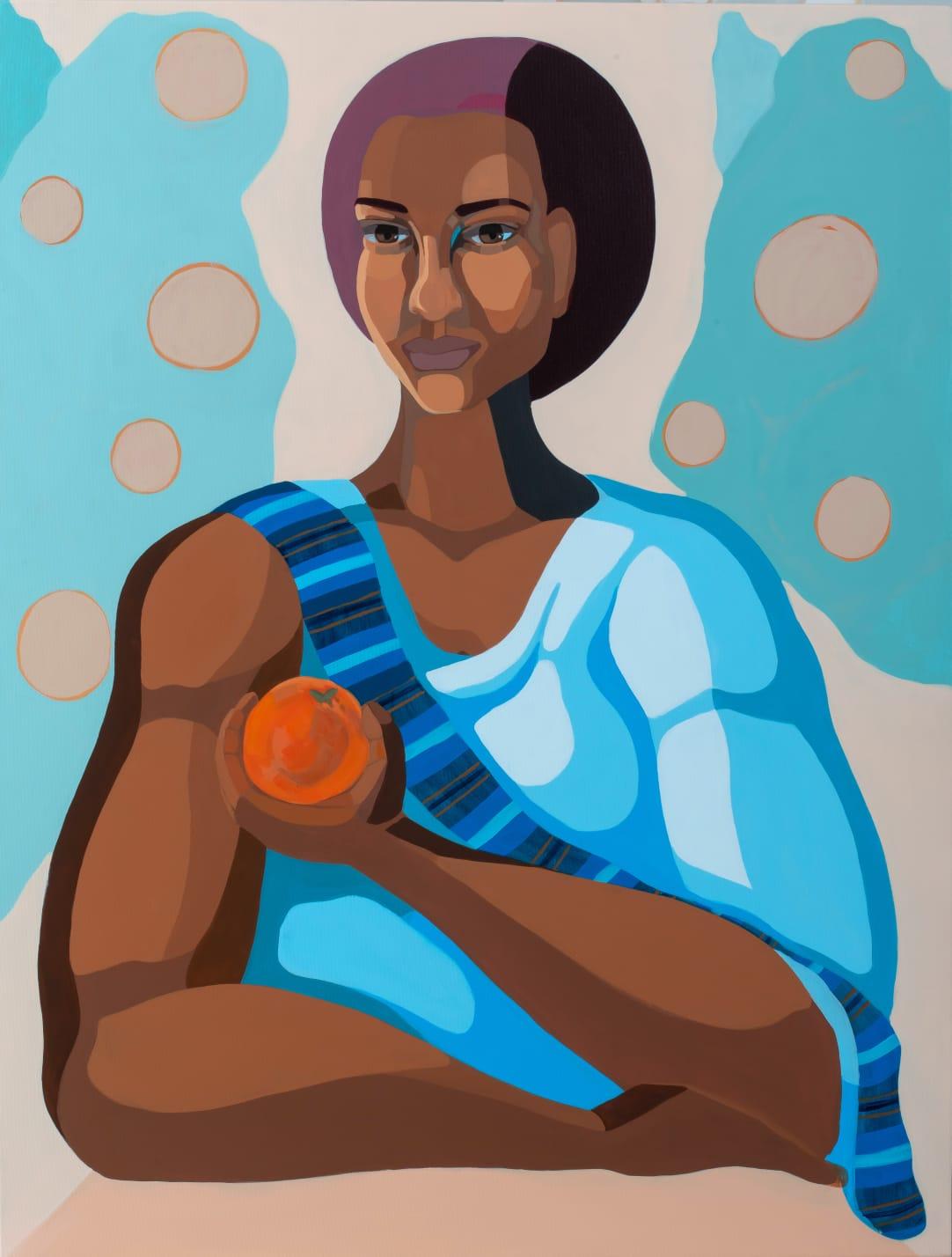 Nirit Takele, Mrs Birtukan , 2018, Acrylic on canvas, 120x90cm