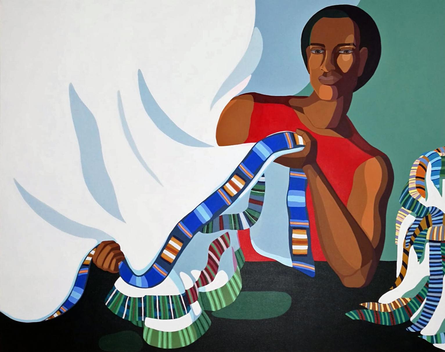 Nirit Takele, Fabcric Seller, 2018, Acrylic on canvas, 135x165 cm