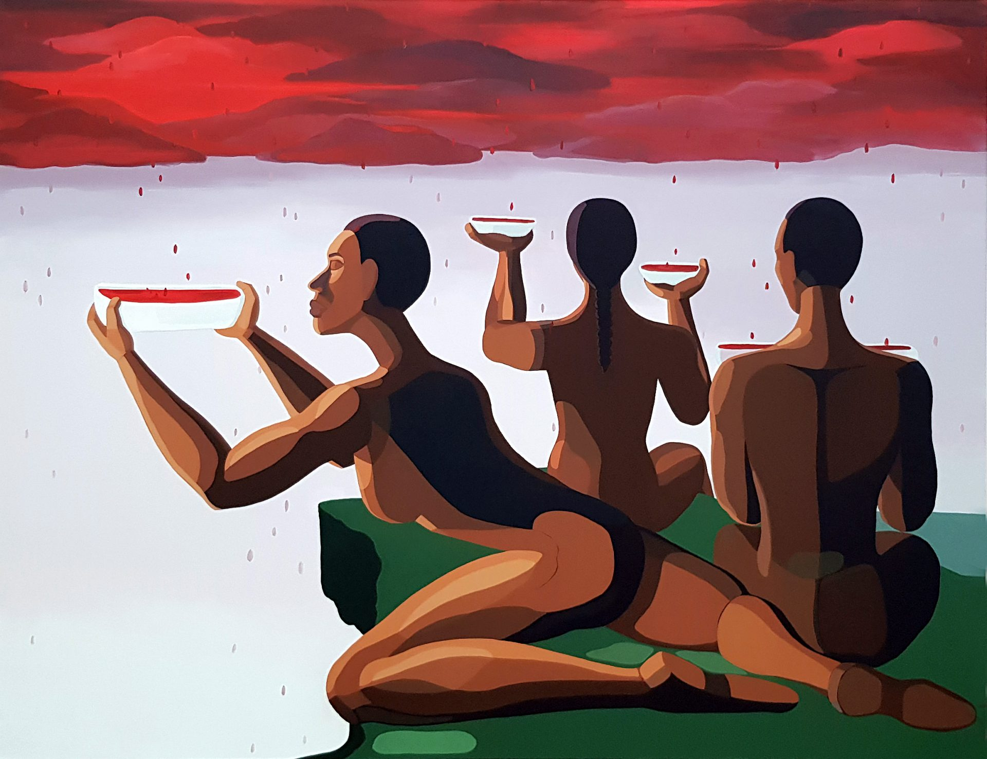 Nirit Takele, Our donation blod, 2018, acrylic on canvas, 165x210 cm