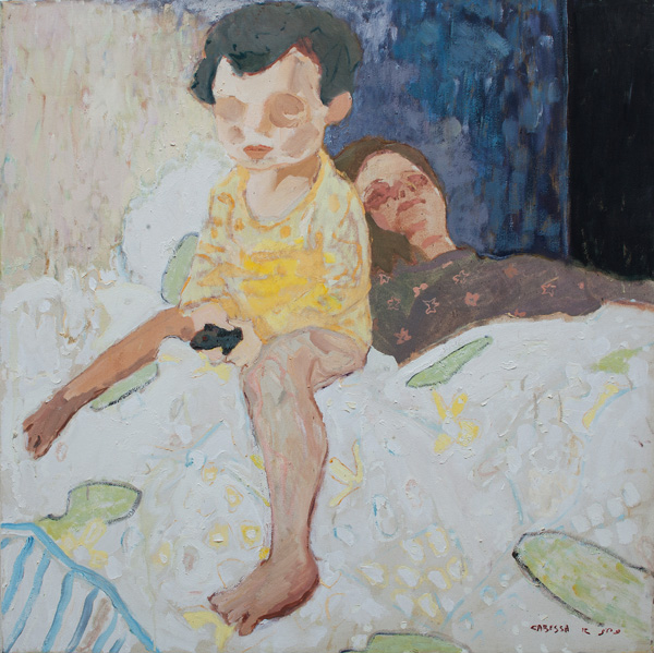 703_(2)Amit Cabessa, Shani and Yuval, 2012, oil on canvas, 120x120 cm-600x599