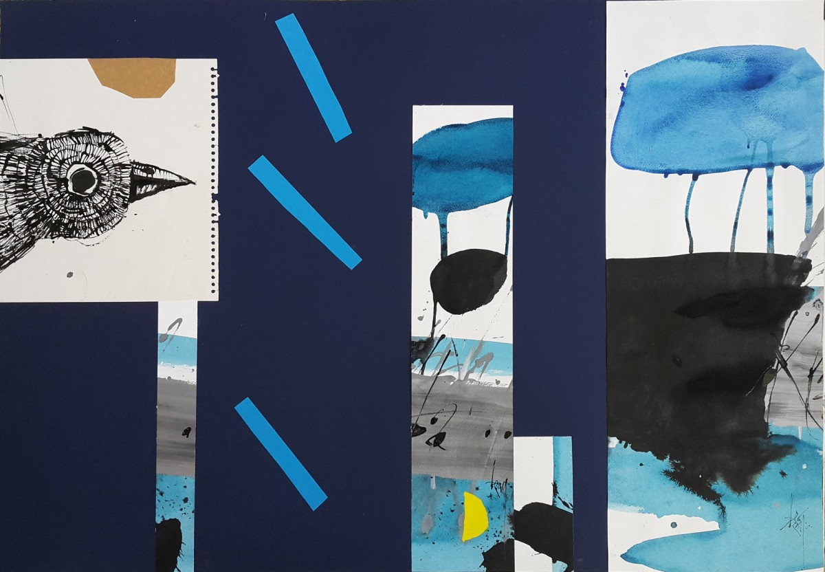 Leo Ray, Blue Waters, 2016, Mixed media on paper, 70x100 cm