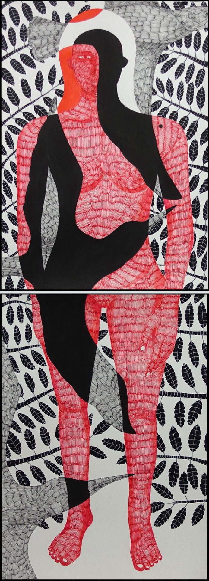 Klone, Standing Ground (before Moving On), 2014, Ink on paper, 200x70 cm