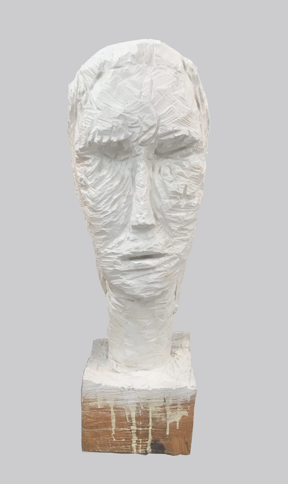 Haim Senior, White head, 2018,Painted wood, H-115 cm 8,500$, (3)