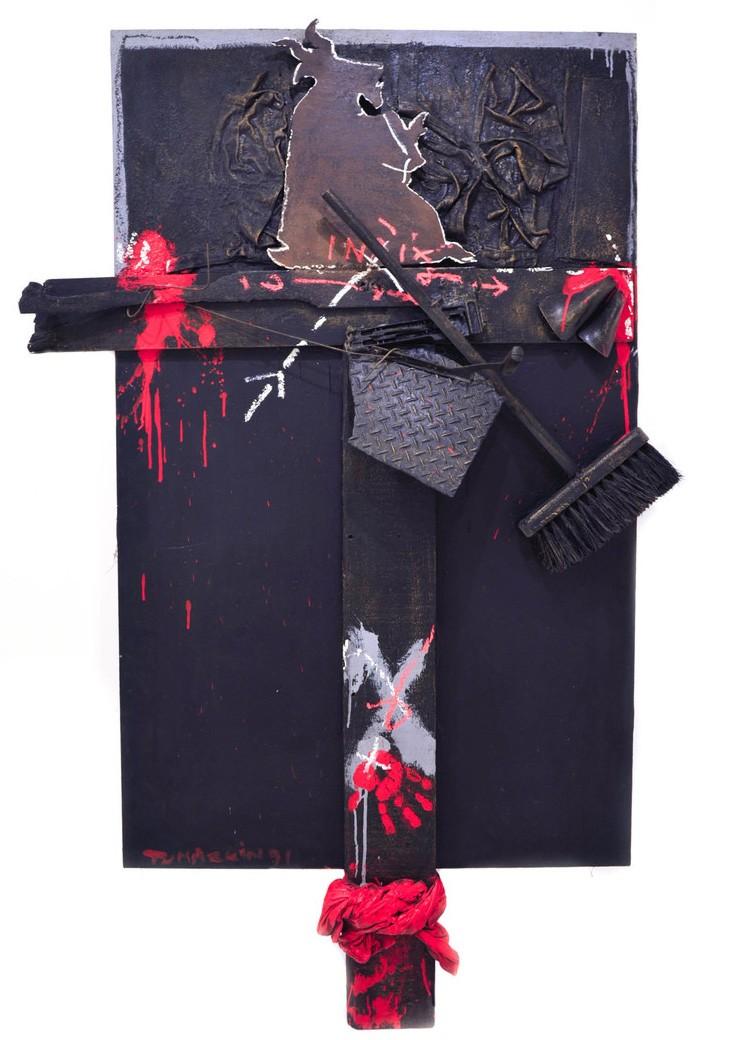 Igael Tumarkin Mixed media on wood 191x 118 cm 22,000$
