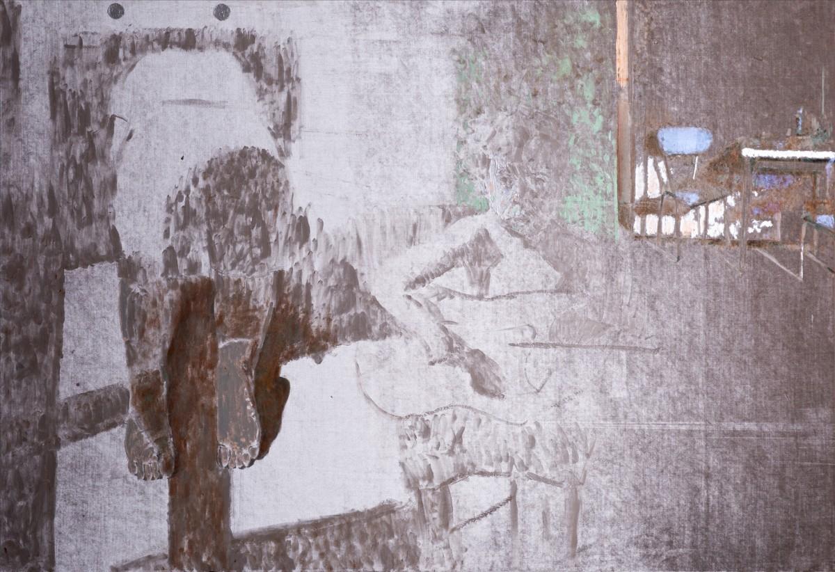 Ran Tenenbaum, Morning Hour, 2020, Interference acrylic & oil on velvet on velvet, 130x190 cm