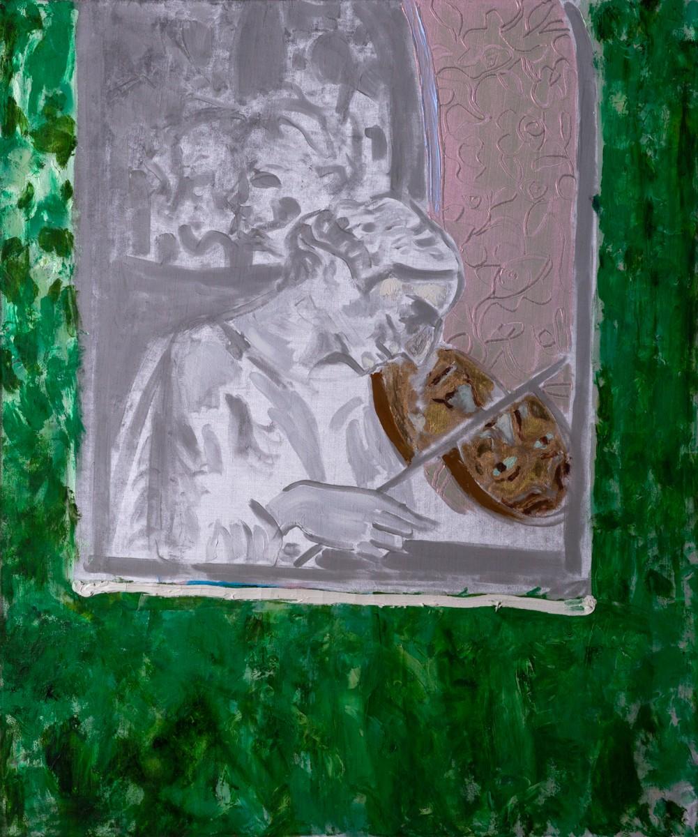 Ran Tenenbaum, Narcissus, 2020, Interference acrylic & oil on velvett, 120x100 cm-side