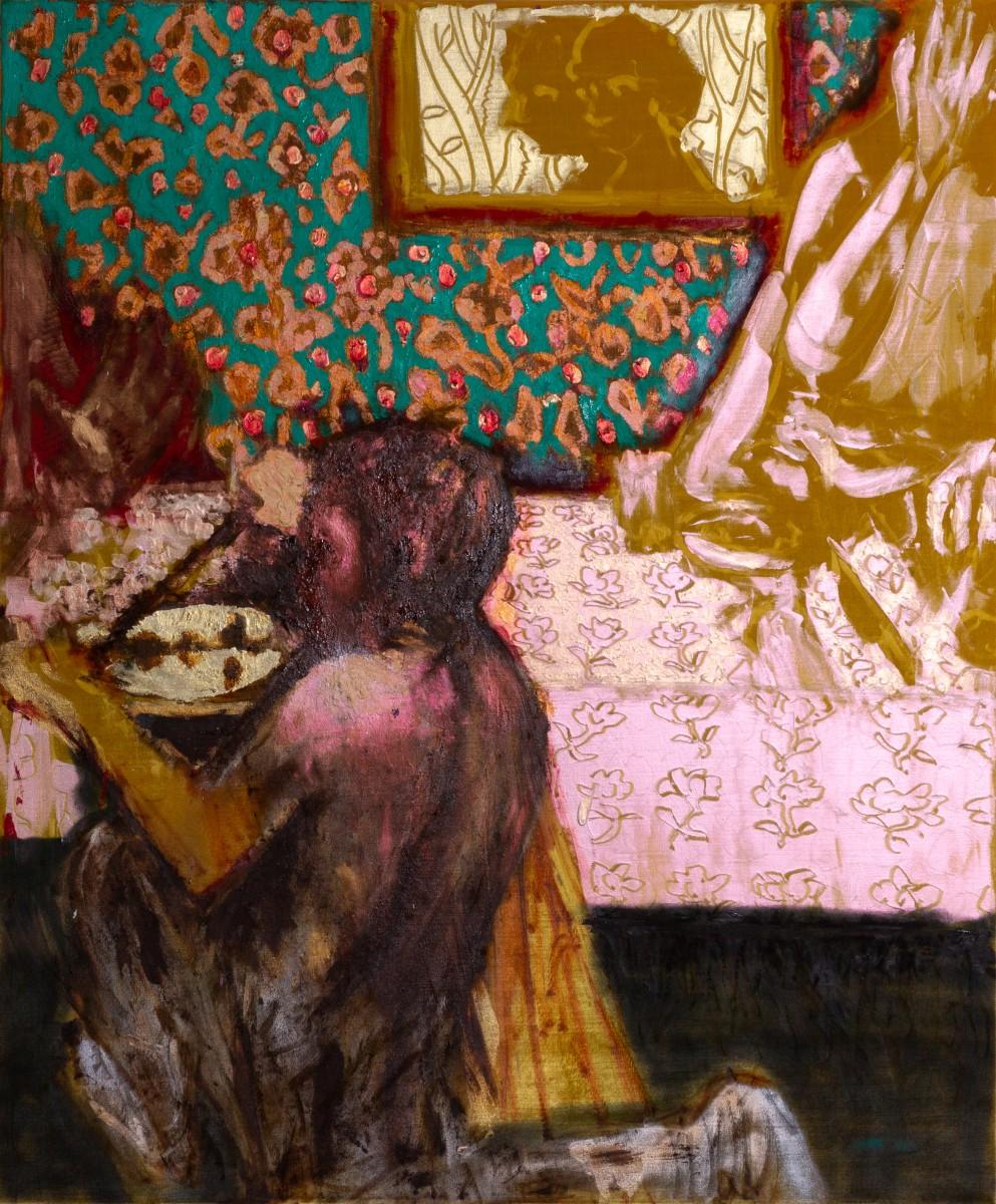 Ran Tenenbaum, Gift, 2020, Interference acrylic & oil on velvet, 120x100 cm