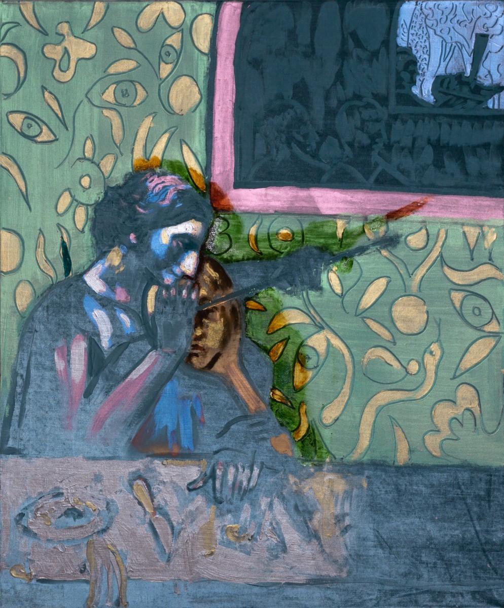 Ran Tenenbaum, Apprenticing, 2020, IInterference acrylic & oil on velvet, 120x100 cm