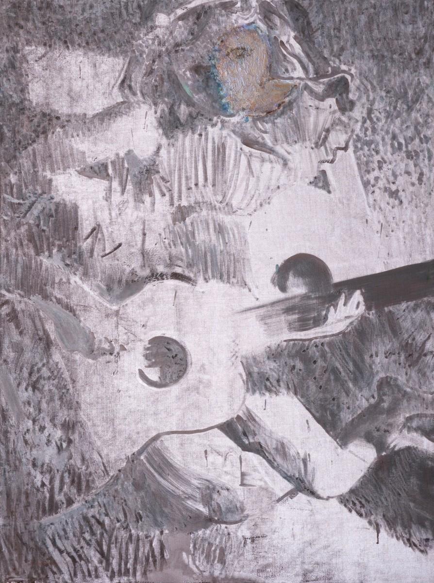 Ran Tenenbaum, Tehila, 2020, Interference acrylic & oil on velvet, 120x90 cm