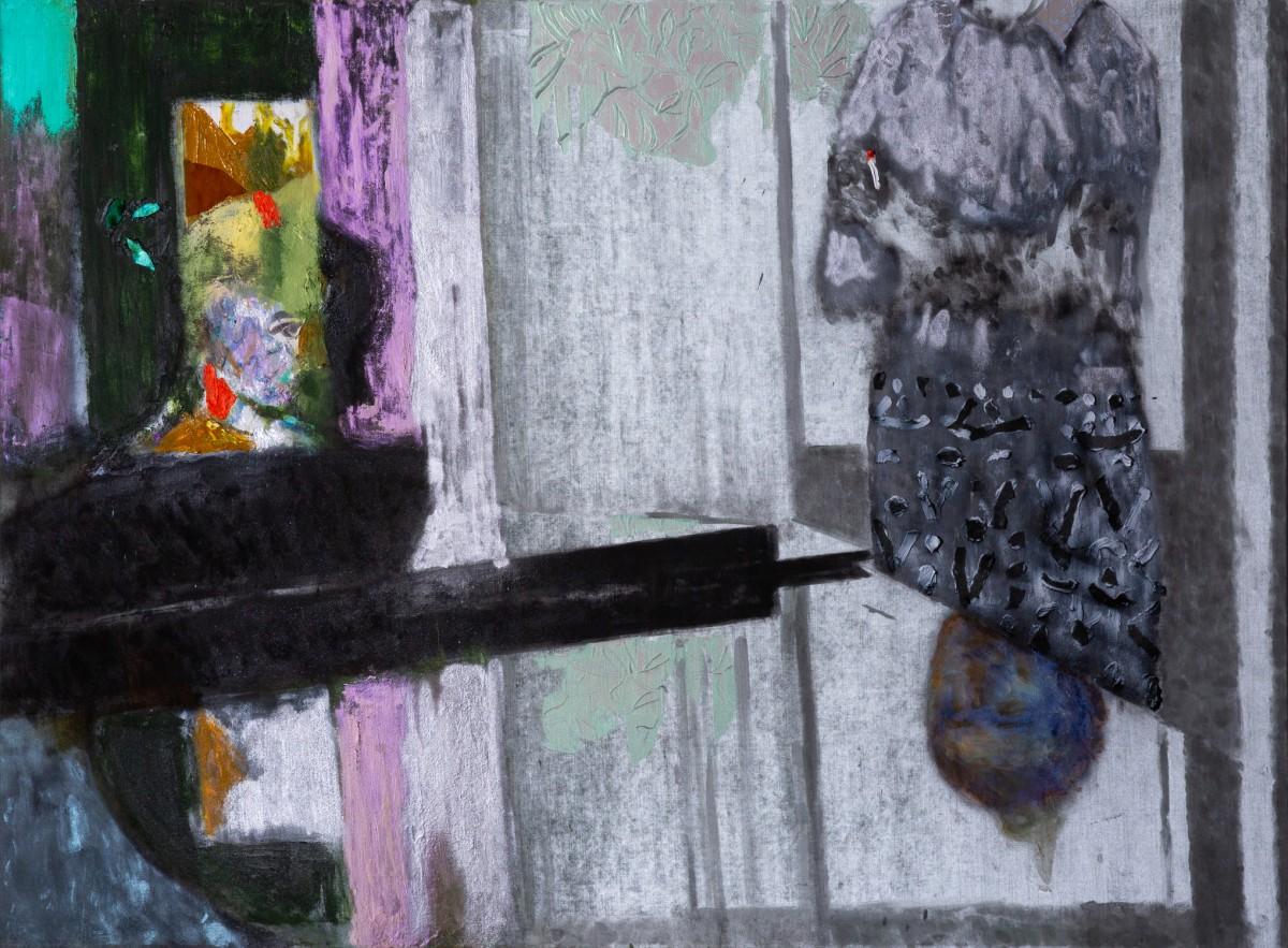 Ran Tenenbaum, Piano Lesson, 2020, Interference acrylic & oil on velvet, 120x160 cm