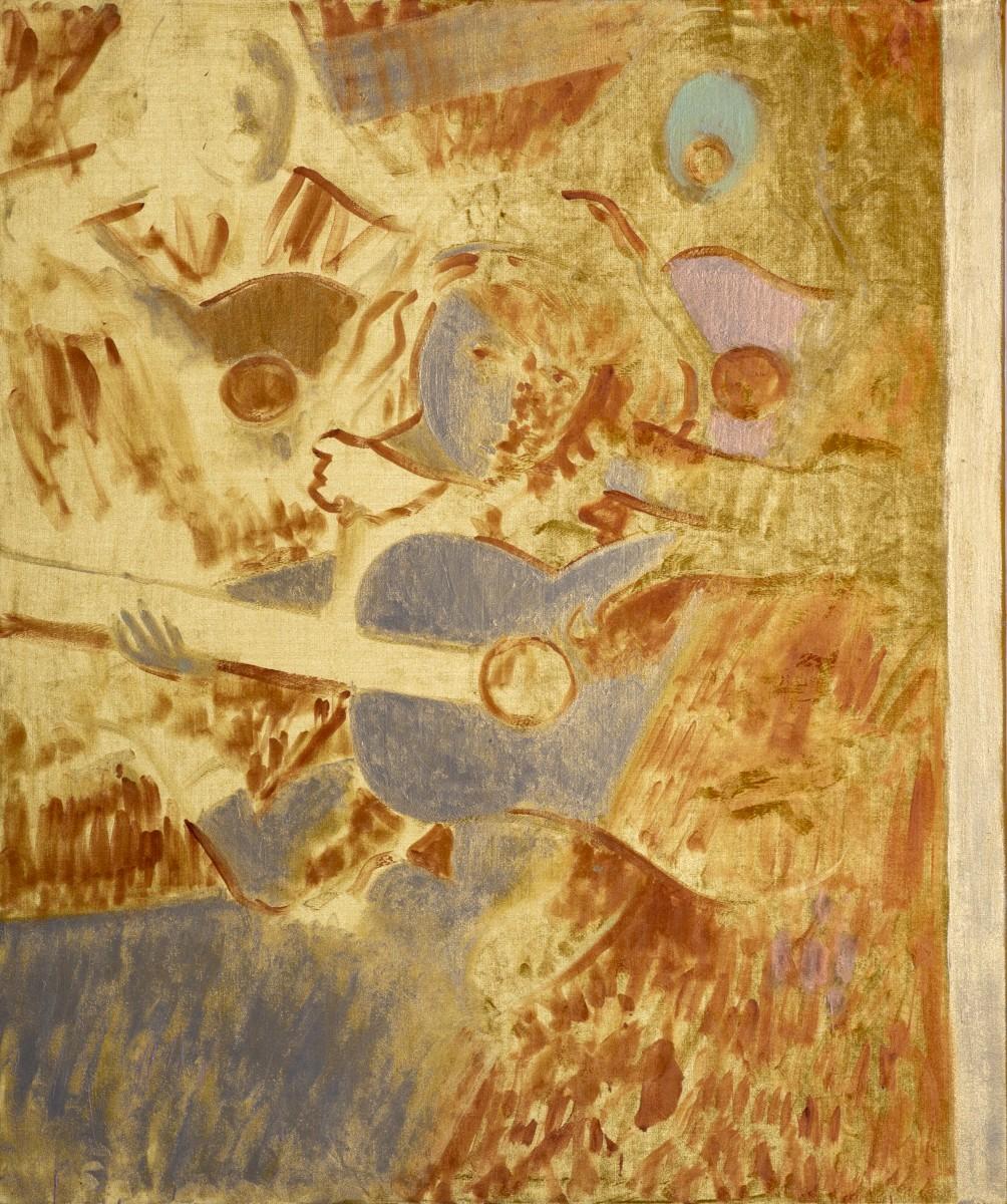 RanTenenbaum, Sirens, 2020, Interference acrylic & oil on velvet, 120x100-side
