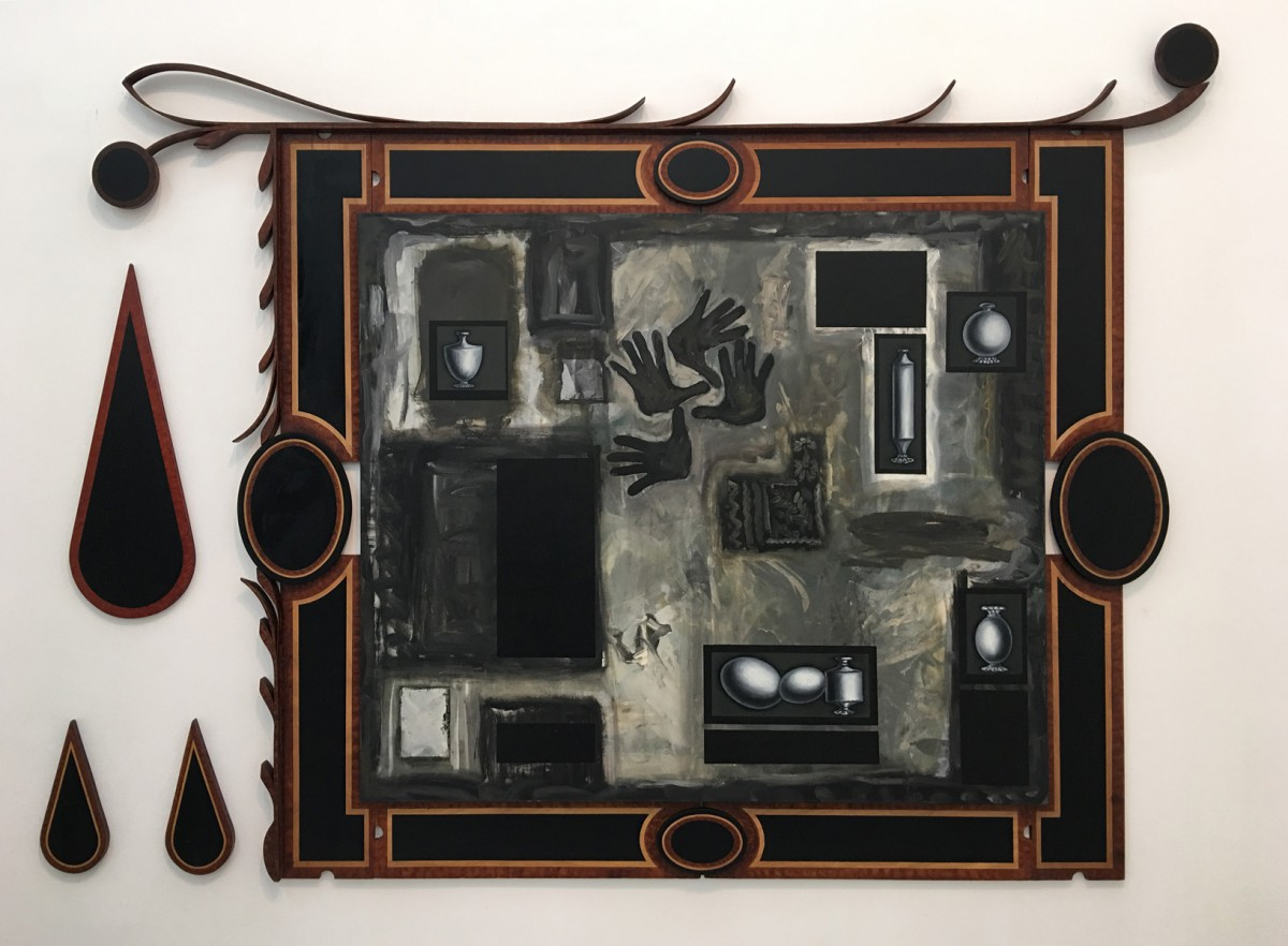 Meir Pichhadze, Untitled, 1987-1988, Mixed media on canvas and wood, 220x305 cm