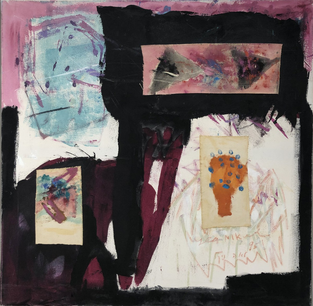 Lea Nikel, Untitled Acrylic and collage on canvas,1995,100x100 cm,