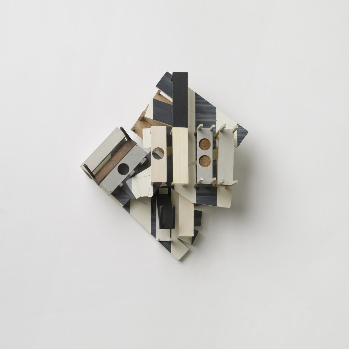 Nahum Tevet, Still Life with Stripes, 1992-2000, Acrylic and industrial paint on wood, 55x50x30 cm